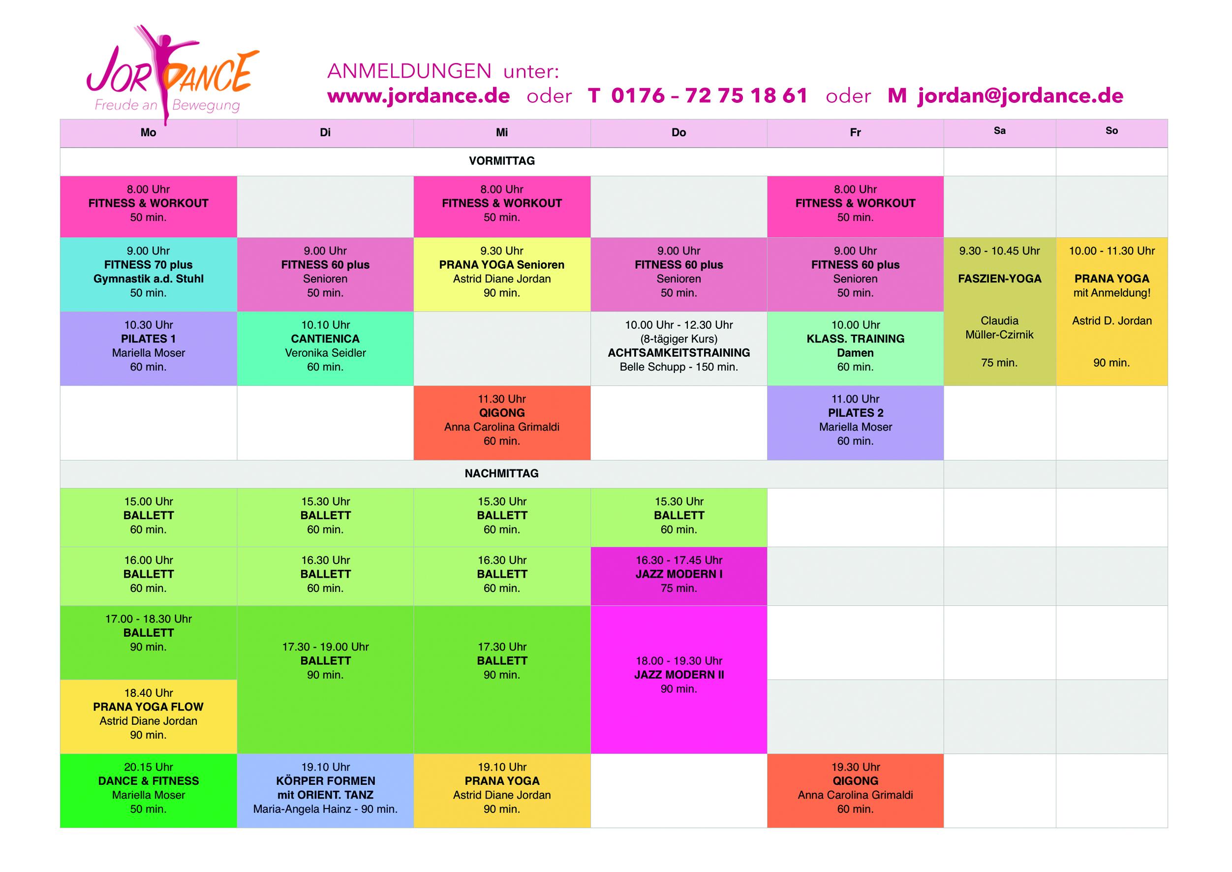 Aktueller Stundenplan Frühling/Sommer 2020